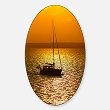Sunset over a lake Sticker (Oval)