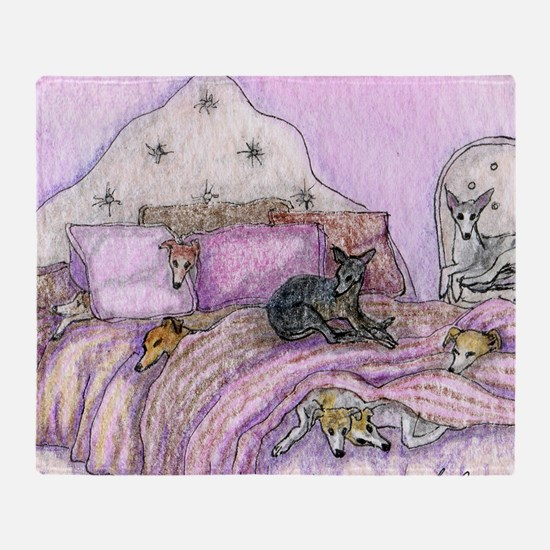 Sighthounds slumber party Throw Blanket