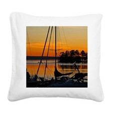 Sunset over a lake Square Canvas Pillow