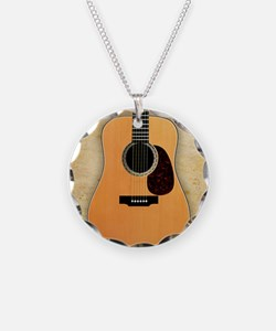 Acoustic Guitar (square) Necklace Circle Charm