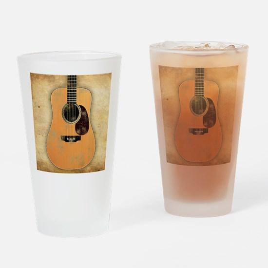 Acoustic Guitar worn (square) Drinking Glass