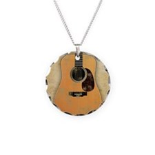 Acoustic Guitar worn (square Necklace Circle Charm