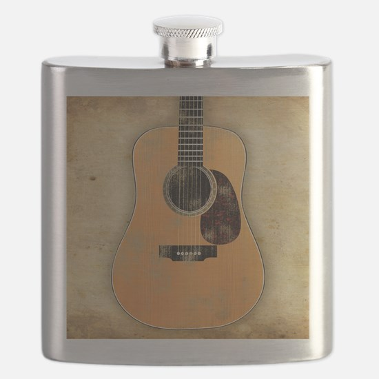 Acoustic Guitar worn (square) Flask
