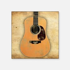 "Acoustic Guitar worn (squar Square Sticker 3"" x 3"""