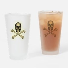Skull and cross bones aged glowing Drinking Glass