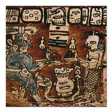 "MAYAN COCOA CEREMONY Square Car Magnet 3"" x 3"""