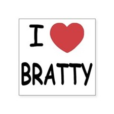 "I heart BRATTY Square Sticker 3"" x 3"""