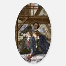 Studying a guillotined head, Mainz  Sticker (Oval)
