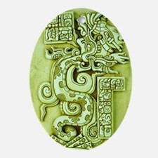 MAYAN SERPENT GOD Oval Ornament