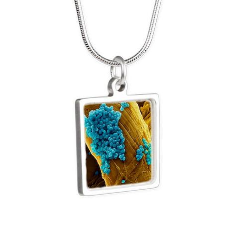Streptococcus pneumoniae b Silver Square Necklace
