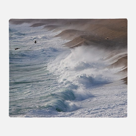 Storm waves at Chesil Beach Throw Blanket