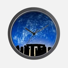 Star trails over Stonehenge Wall Clock