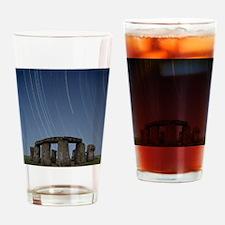 Star trails over Stonehenge Drinking Glass