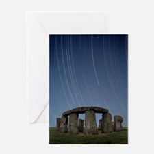 Star trails over Stonehenge Greeting Card