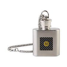 Black Fleur de Lis Monogram Flask Necklace