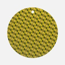 Funky Yellow And Green Round Ornament