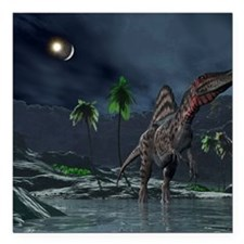 "Spinosaurus witnessing a Square Car Magnet 3"" x 3"""