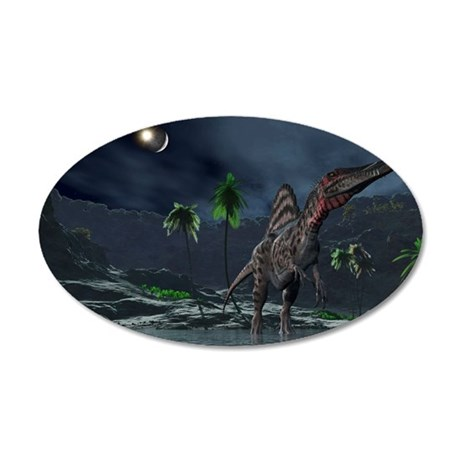 Spinosaurus witnessing a lun 35x21 Oval Wall Decal