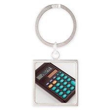 Solar-powered calculator Square Keychain