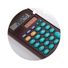 Solar-powered calculator Round Ornament