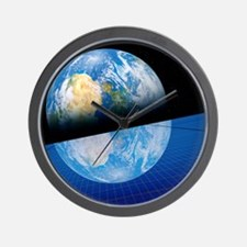 Solar power satellite, artwork Wall Clock