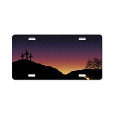 Empty tomb and three crosse Aluminum License Plate