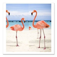 "Flamingo Flip Flops Square Car Magnet 3"" x 3"""