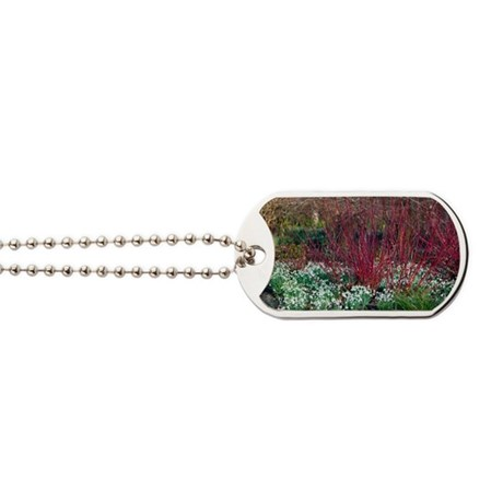 Snowdrop flowers under common dogwood Dog Tags