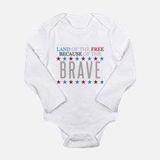 Land of the Free Because of the Brave Onesie Romper Suit