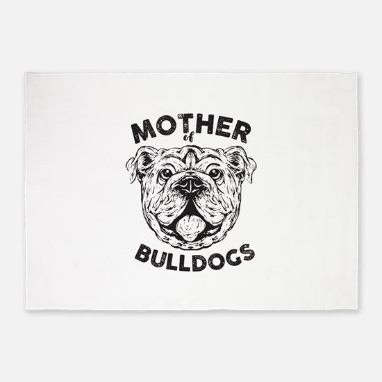 Mother of Bulldogs 5'x7'Area Rug