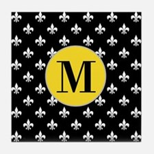 Black Fleur de Lis Monogram Tile Coaster