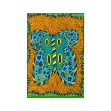 Green Boarder Butterfly Rectangle Magnet