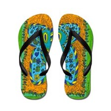 Green Boarder Butterfly Flip Flops