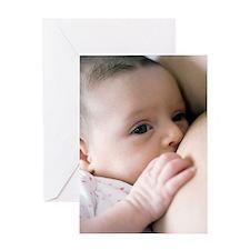 Six week old baby girl breastfeeding Greeting Card
