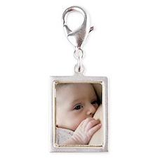 Six week old baby girl breas Silver Portrait Charm