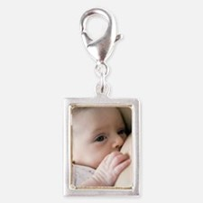 Six week old baby girl breas Silver Portrait Charm