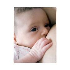 Six week old baby girl breastfeeding Twin Duvet