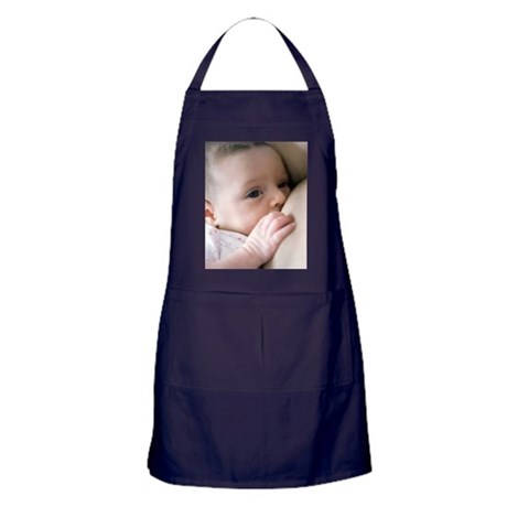 Six week old baby girl breastfeeding Apron (dark)