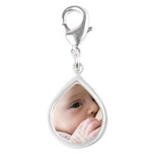 Six week old baby girl brea Silver Teardrop Charm