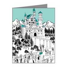 Tourist by castle on snow-co Note Cards (Pk of 10)