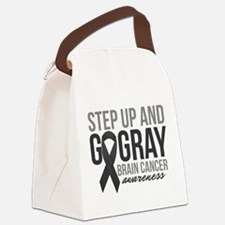 Step Up and Go Gray Canvas Lunch Bag