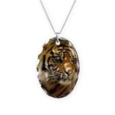 Siberian Tiger Necklace Oval Charm