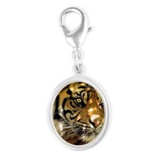 Siberian Tiger Silver Oval Charm