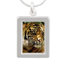 Siberian Tiger Silver Portrait Necklace