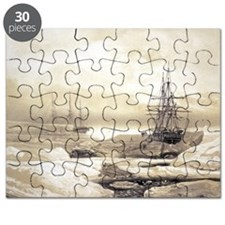 Ship stuck in Antarctic ice, artwork Puzzle