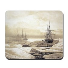 Ship stuck in Antarctic ice, artwork Mousepad