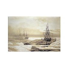 Ship stuck in Antarctic ice, artw Rectangle Magnet
