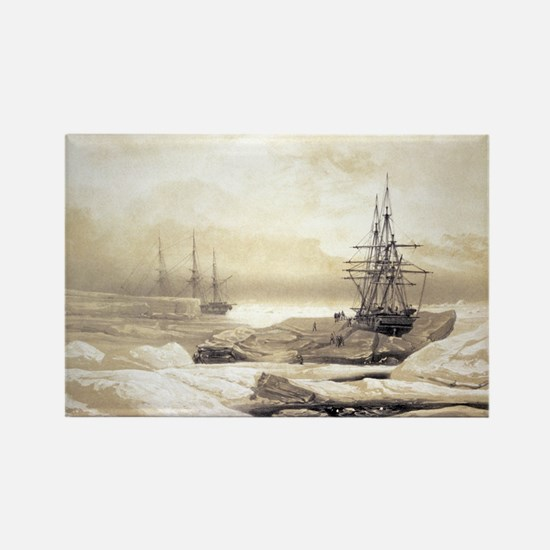 Ship stuck in Antarctic ice, artw Rectangle Magnet