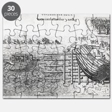 Ship launch system, 16th century artwork Puzzle