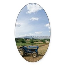 Tractor on farm field, Trets, Franc Decal